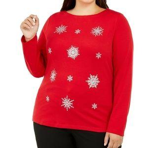 Karen Scott Plus Size Embellished Snowflake Top